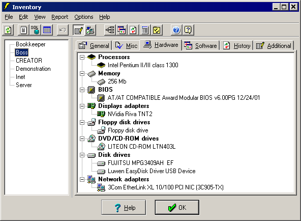 Audit software and hardware components installed on the computers over the network